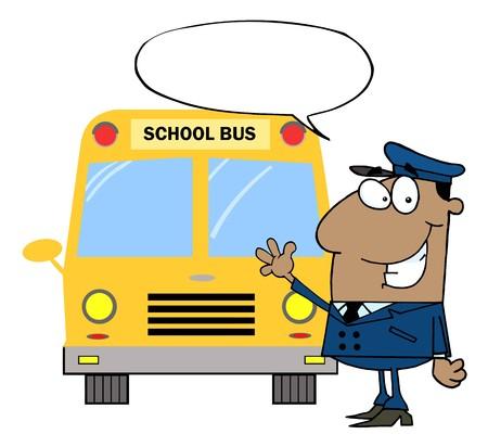 chofer de autobus: Controlador de Estados Unido Waving en delante del autob�s de escuela  Vectores