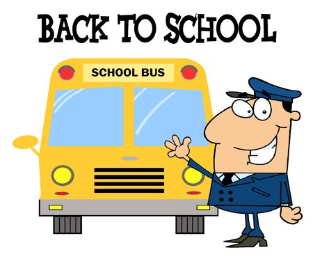 Driver In Front of School Bus With Back To School Text  Vector