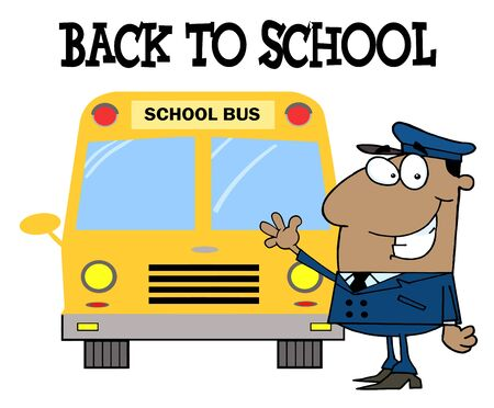 African American Driver In Front of School Bus With Back To School Text  Vector