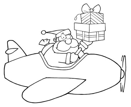Outlined Santa Claus Holding Up A Stack His Christmas Plane  Vector
