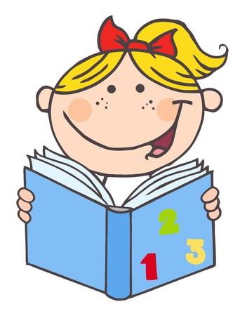 子供の本を読んでいる女の子  イラスト・ベクター素材
