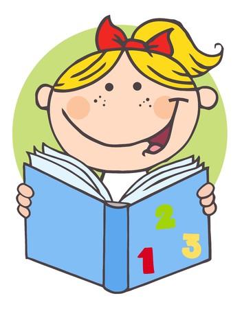 本を読んで幸せな女の子