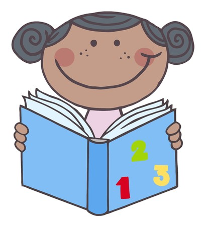 kids reading book: African American Kid Girl Reading A Book