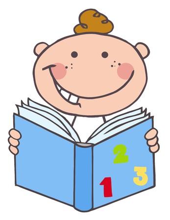 book: Kid Boy Reading A Book  Illustration