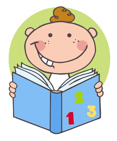 infant: Happy Boy Reading A Book  Illustration