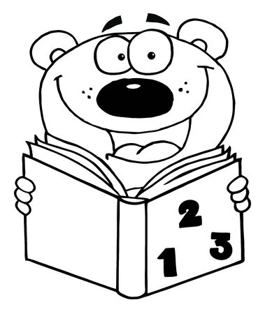 vectorrn: Outlined Happy Bear Reading A Book