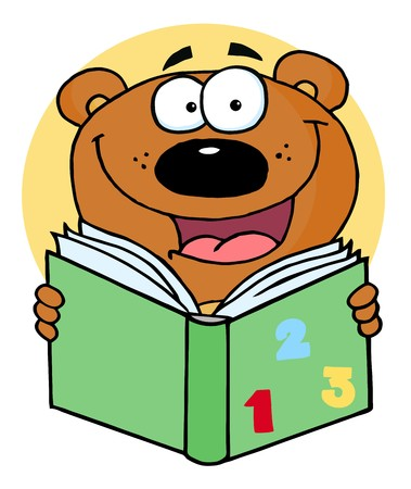 vectorrn: Happy Bear Reading A Book  Illustration