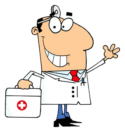 Doctor Man Carrying His First Aid Bag  Ilustrace