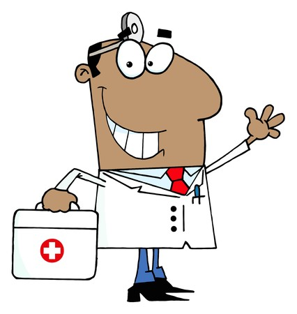 vectorrn: African American Doctor Man Carrying His Medical Bag  Illustration