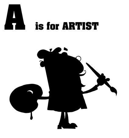 Silhouetted Male Artist With A Is For Artist Text