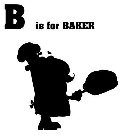 silhouetted: Silhouetted Male Baker With B Is For Baker Text
