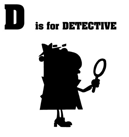 Silhouetted Detective With D Is For Detective Text  Çizim