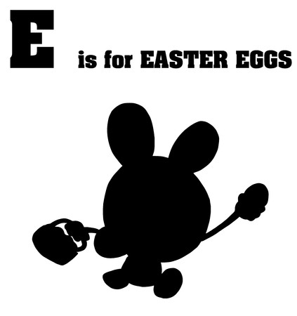 Silhouetted Easter Bunny With E Is For Easter Eggs Text  Vector