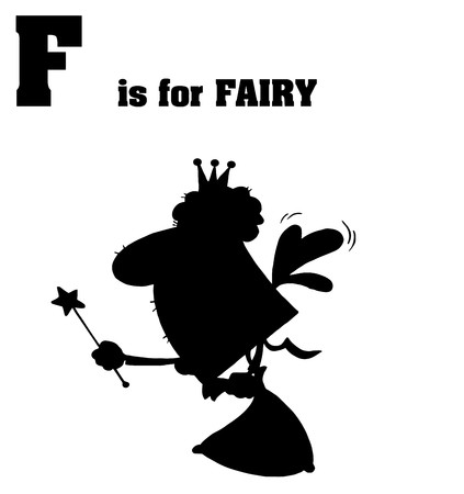 Silhouetted Fairy With F Is For Fairy Text  Vector