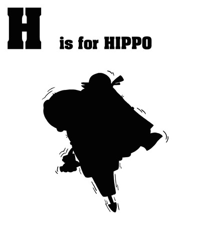 Silhouetted Hippo With H Is For Hippo Text  Vector