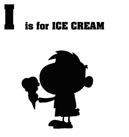 Silhouetted Boy Eating Ice Cream With I Is For Ice Cream Text Stock Vector - 7849217