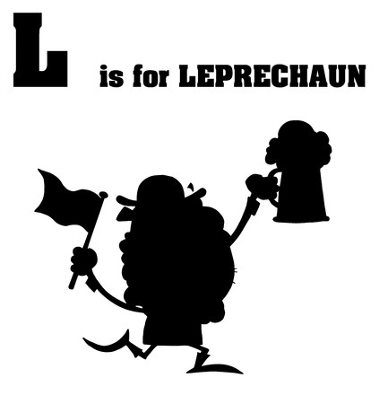 saint paddy's: Silhouetted Leprechaun With L Is For Leprechaun Text  Illustration