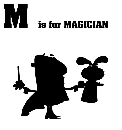 Silhouetted Magician With M Is For Magician Text  Vector