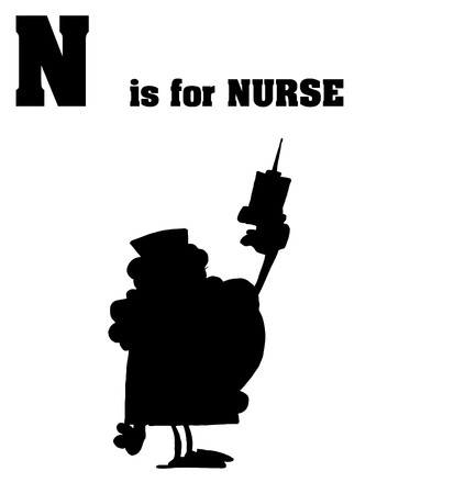 Silhouetted Nurse With N Is For Nurse Text  Vector