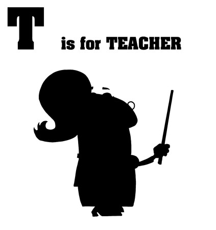 silhouetted: Silhouetted Female Teacher With T Is For Teacher Text