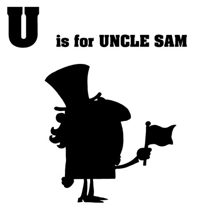 sam: Silhouetted Uncle Sam With U Is For Uncle Sam Text