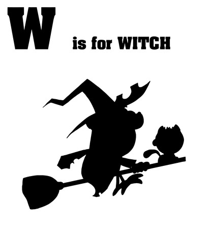 Silhouetted Witch With W Is For Witch Text  Vector