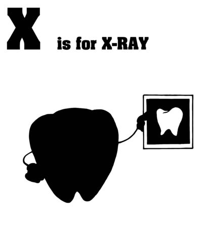 Silhouetted Tooth Holding An Xray With X Is For Xray Text