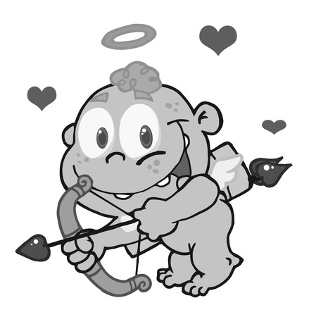 matchmaking: Grayscale Cupid Flying With An Arrow, Halo And Hearts