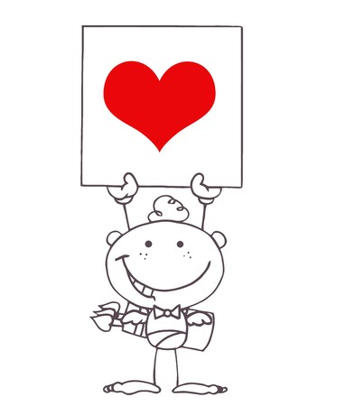 matchmaking: Outlined Stick Cupid Holding A Red Heart Sign