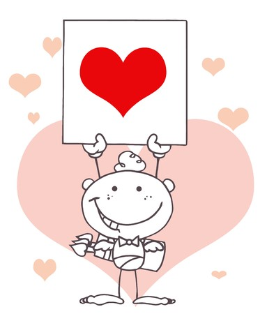 matchmaking: Outlined Stick Cupid Holding A Red Heart Sign In Front Of Pink Hearts