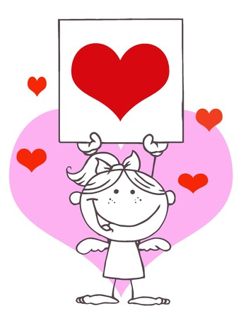 matchmaking: Outlined Girl Stick Cupid Holding A Red Heart Sign