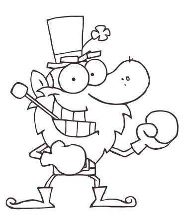Outlined Boxing Leprechaun With A Pipe In His Mouth