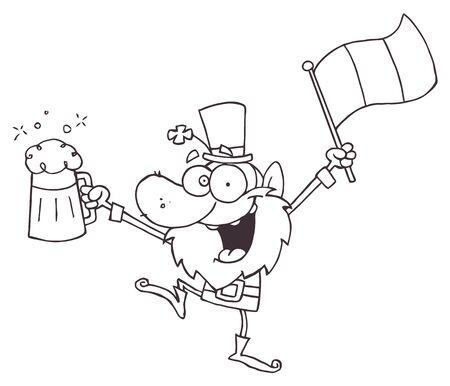 libro caricatura: Esbozado borracho Leprechuan Dancing con cerveza y una bandera
