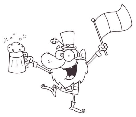 Outlined Drunk Leprechuan Dancing With Beer And A Flag  Vector