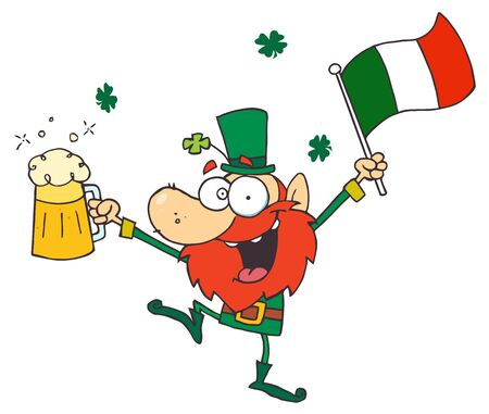 Drunk Leprechuan Dancing With Beer And A Flag  Stock Vector - 7849415