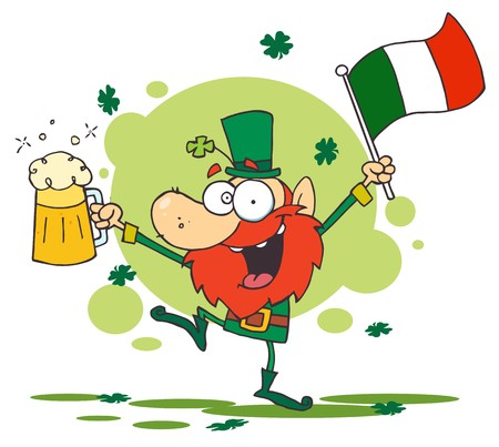 paddys: Greeting Of A Drunk Leprechuan Dancing With Beer And A Flag Illustration