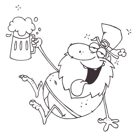 Outlined Drunk Leprechaun In His Underwear, Holding Up A Beer  Vector