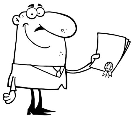 Successful Outlined Businessman Holding An Award Or Contract Stock Illustratie