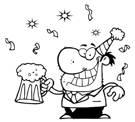 yearrn: Outlined Drunk New Years Man Holding Beer  Illustration