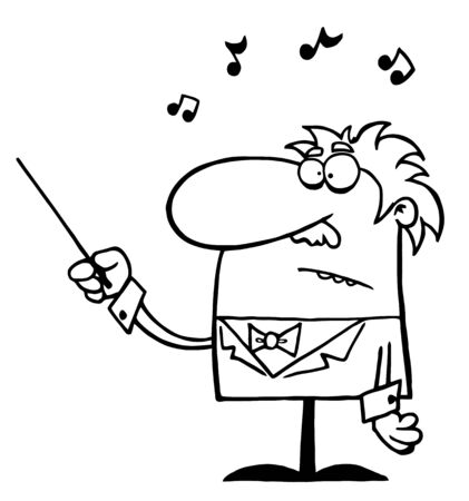 conducting: Outlined Senior Conductor Waving A Baton  Illustration