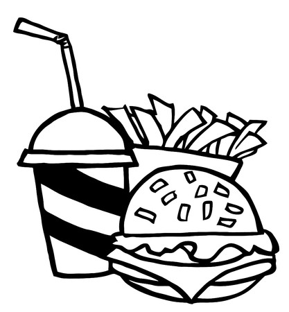 Outlined Cheeseburger With Cola And French Fries