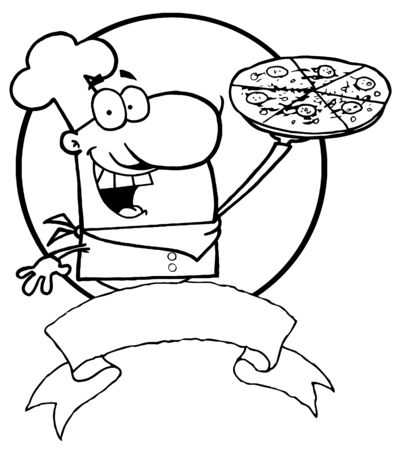 Outlined Male Chef Holding Up A Pizza Pie Over A Blank Banner And Circle  Vector