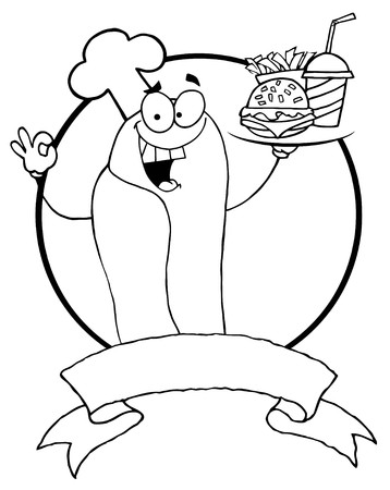 Outlined Hot Dog Chef Serving Fast Food, Over A Blank Banner And Circle  Vector