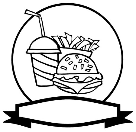 cheeseburger with fries: Outlined Fast Food Logo Of Soda, Fries And A Burger Over A Blank Label  Illustration
