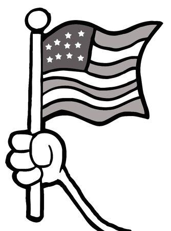 vectorrn: Grayscale Hand Waving An American Flag