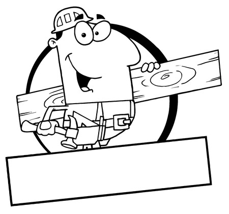 cartoon carpenter: Outlined Painter Over A Blank Box