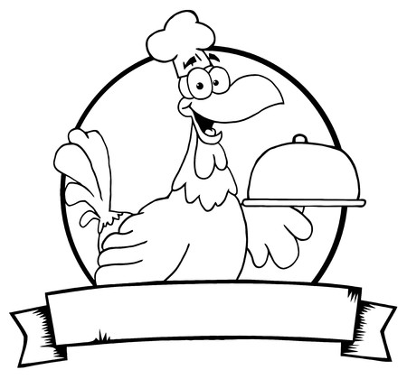 online logo: Outlined Rooster Chef Serving A Platter Over A Circle And Blank Banner  Illustration