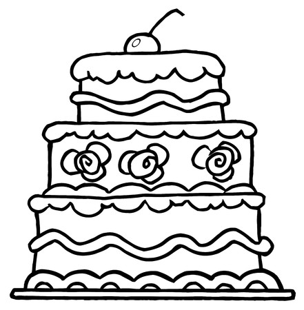 Triple Tiered Outlined Wedding Cake With Frosting And A Cherry  Vector