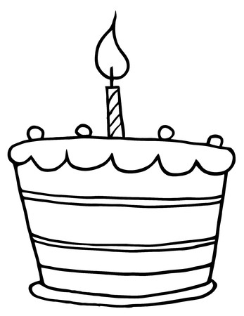 Outlined Tiered Birthday Cake With One Candle On Top  Vector