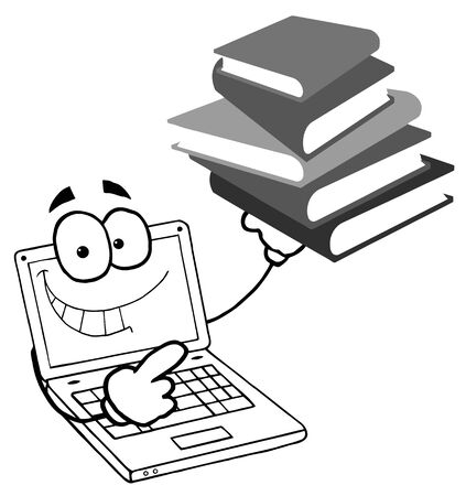 Black And White Laptop Guy Holding a Stack of Books  Stock Vector - 7849325